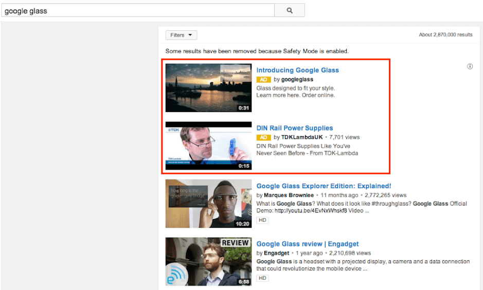 youtube搜索广告