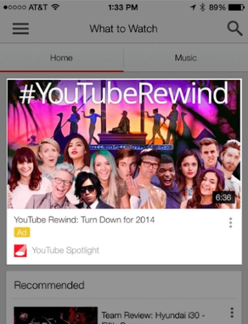 手机端youtube探索广告